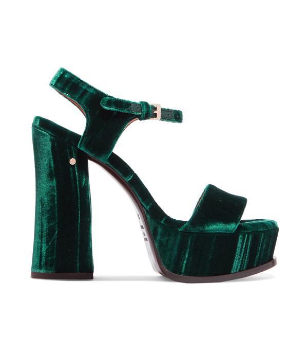 How to wear velvet: Laurence Dacade Perla Crushed-Velvet Platform Sandals