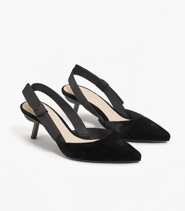 How to wear velvet: Mango Velvet Slingback Shoes