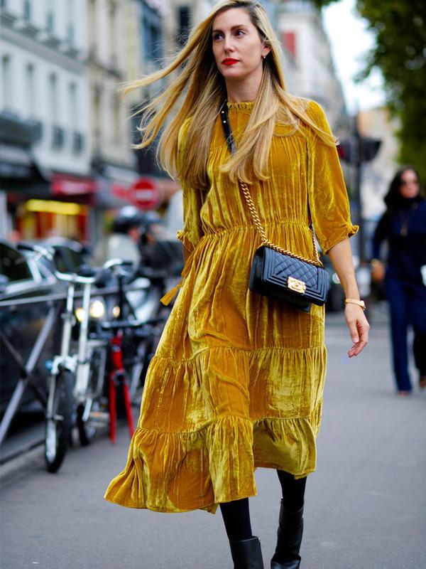 How to wear velvet: yellow dress