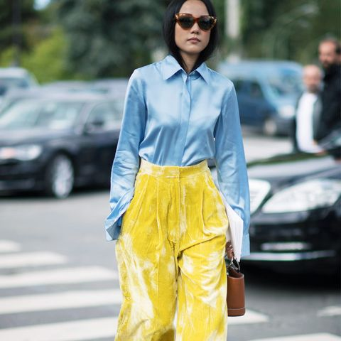 How to wear velvet: yellow trousers