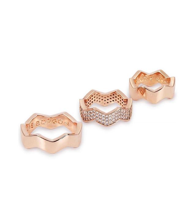 Edie Borgo Zig Zag Gold-Plated Ring Set