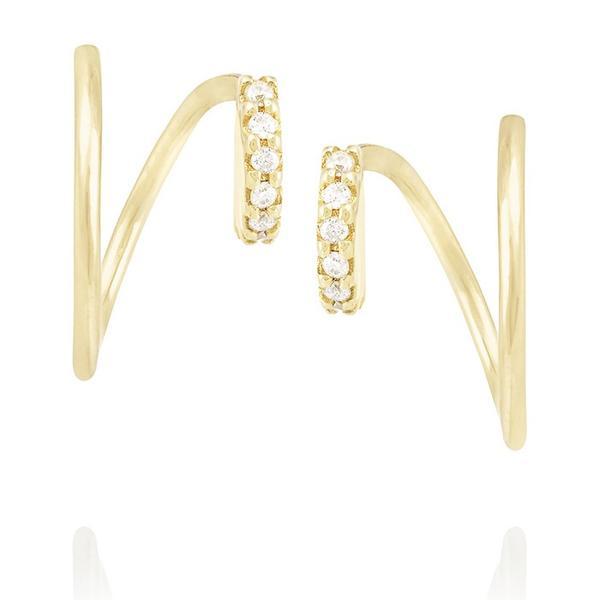 Maria Black Lila Twirl 18-karat Gold Diamond Earrings