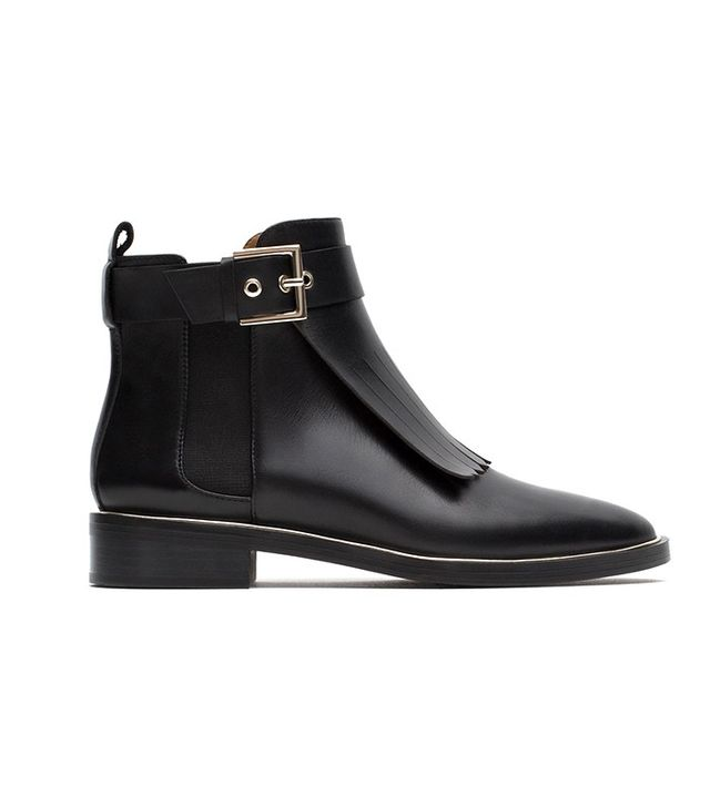 Zara Fringed Leather Ankle Boots