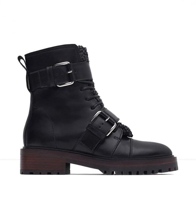 Zara Leather Biker Boots