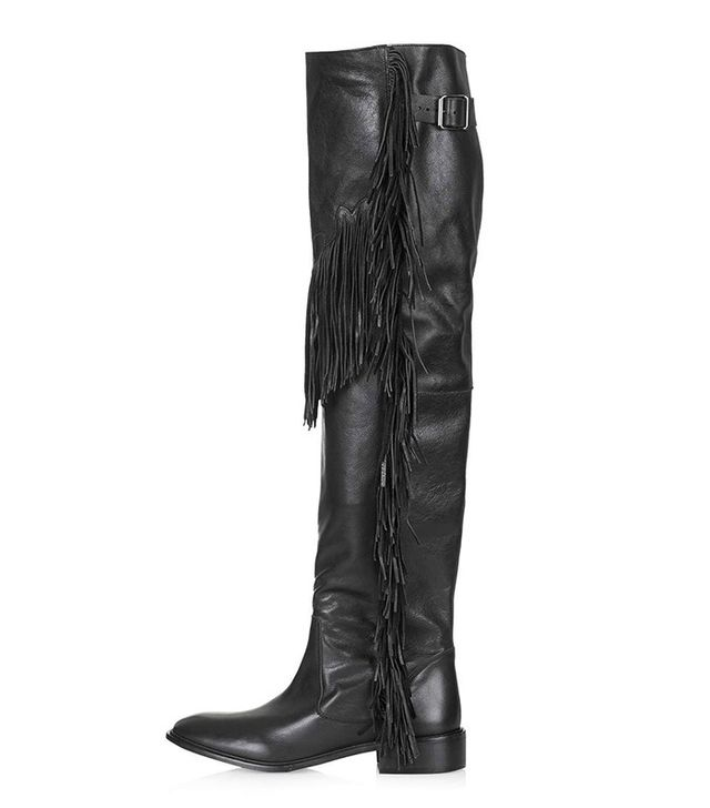 Topshop Fringed Leather High Boots