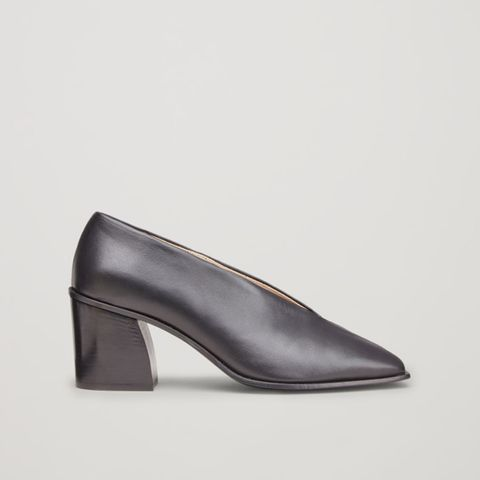 Square-Toe Pumps With Fold Detail