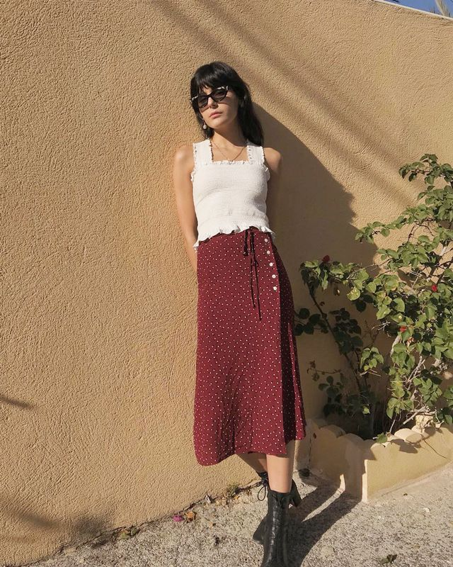 What looks amazing on you:Skirts with volume-increasing details like ruffles, bows, or embellishments. Why:They fill out your slight hips and balance your upper body.