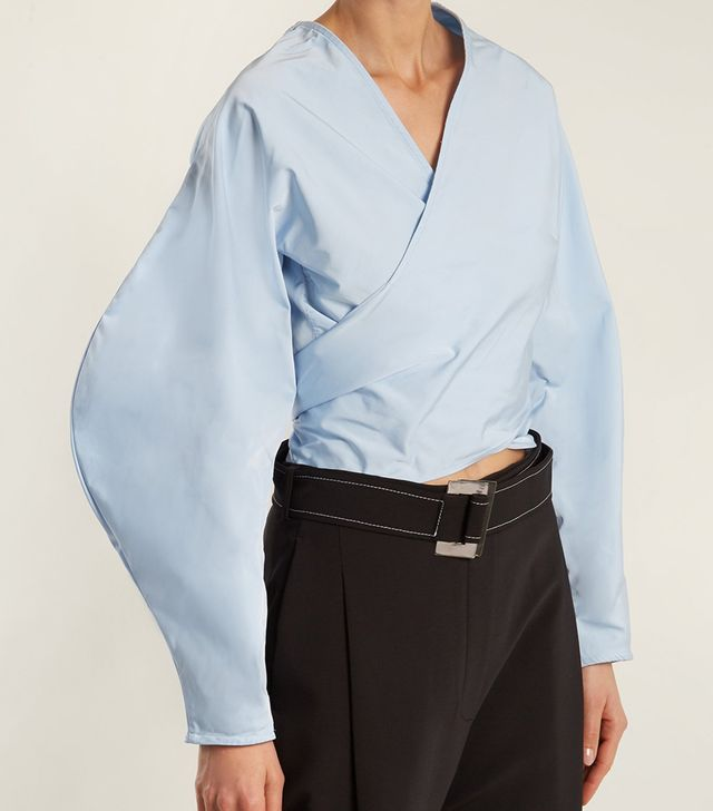 Lasso balloon-sleeve cropped wrap top