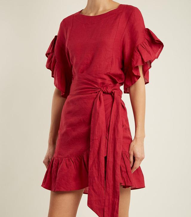 Delicia ruffle-trimmed linen wrap dress