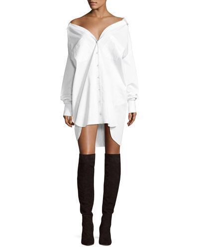 Kendall + Kylie Boyfriend Button-Front Cotton Shirtdress