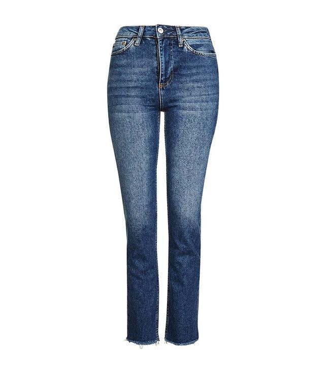 Topshop Moto Dark Blue Straight Leg Jeans