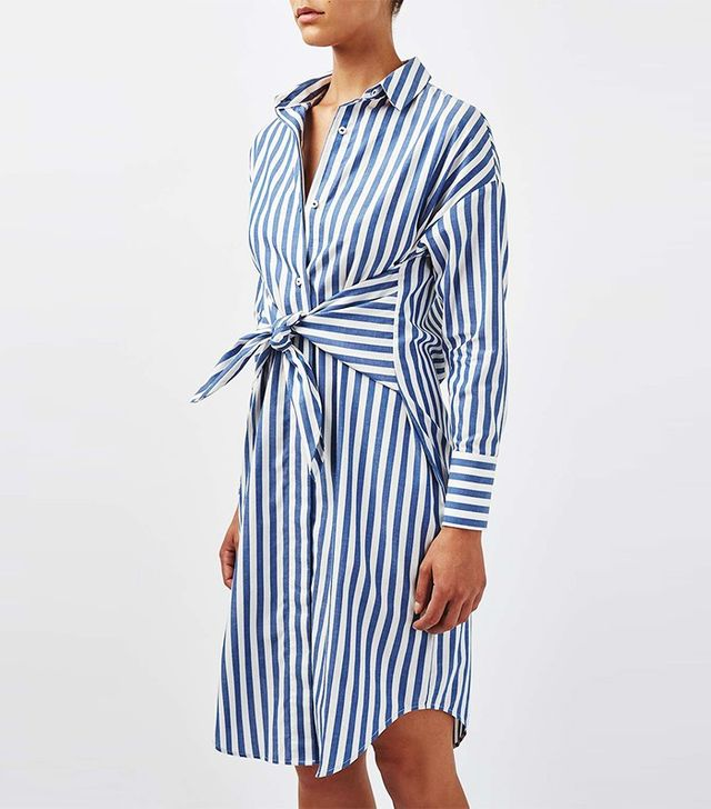 Topshop Boutique Stripe Tie-Front Dress
