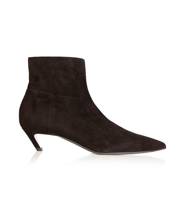 Balenciaga Slant-Heel Suede Ankle Boot