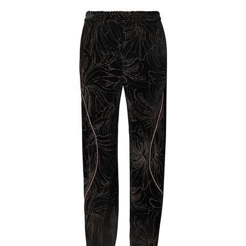 Embellished Printed Velvet Track Pants