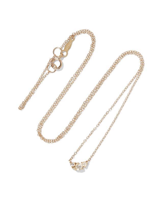 Sleeping Beauty 14-karat Gold Diamond Necklace