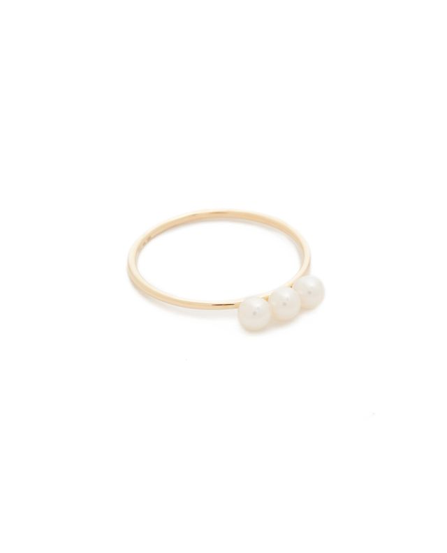 Triple Freshwater Cultured Pearl Stack Ring
