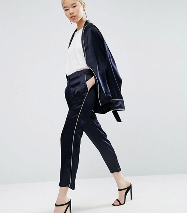 ASOS Lux Pajama Suit with Piping Detail