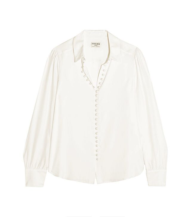 Frame Le Victorian Washed-Silk Blouse