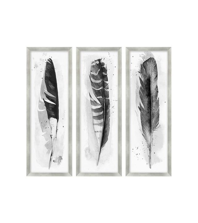 Pottery Barn Ink Wash Feather Framed Sets