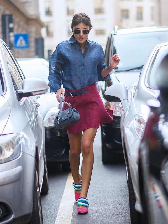 On Manfield: Trussardi shirt and skirt; Missoni shoes.