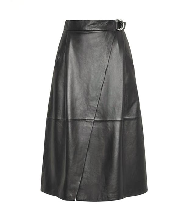 Whistles Leather Wrap Skirt