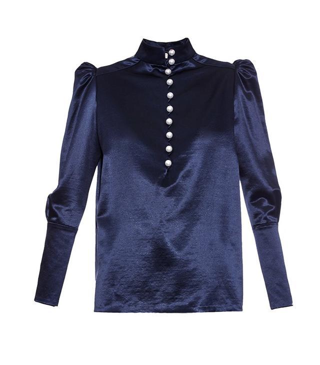 Hillier Bartley Contrast-Button Silk Blouse