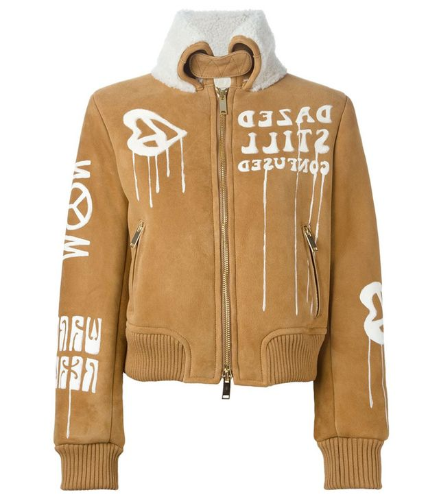 Off White Suede Bomber Jacket