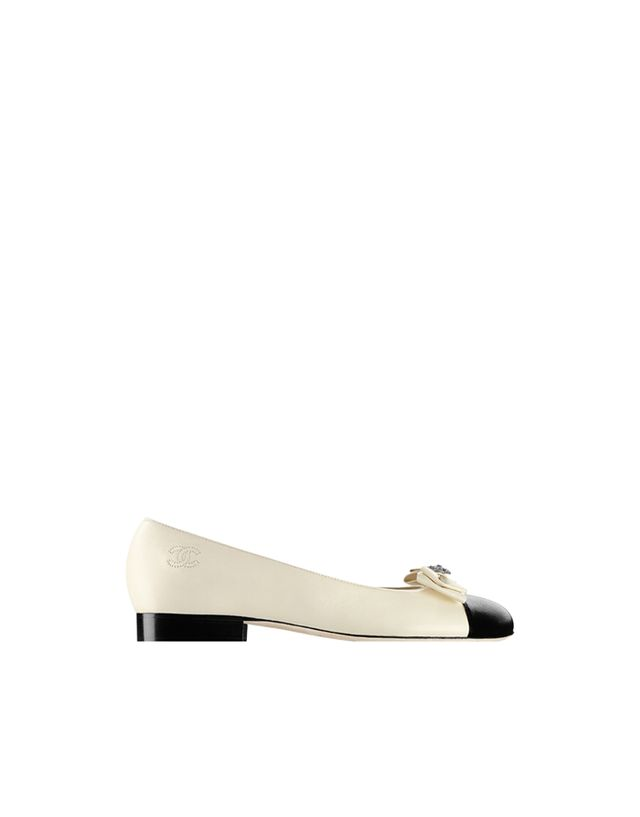Chanel Lambskin Ballerinas Embellished with a Bow and Strass