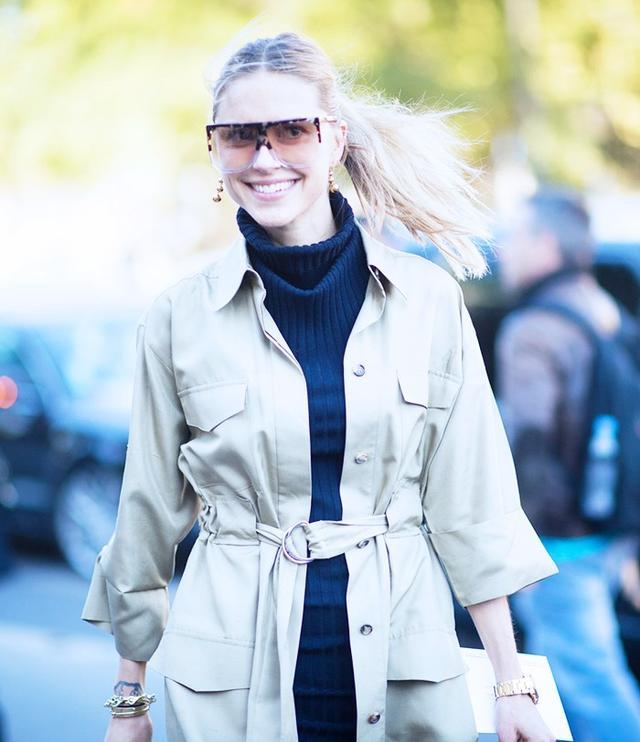 Pernille Teisbaekat Paris Fashion Week S/S 16. On Teisbaek: Loewe Bag, Earrings andFilipa Sunglasses(£295), Céline Trench Dress, Acne Studios Pre S/S 16 Knitted...