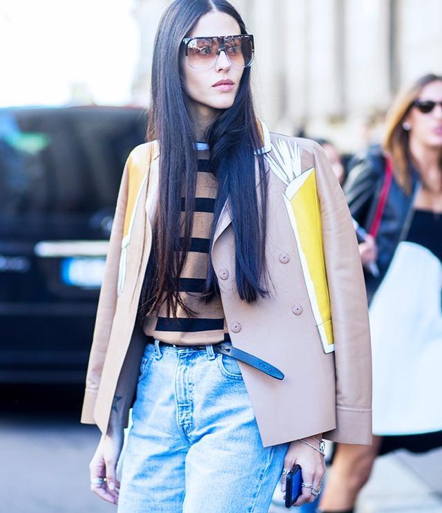 Gilda Ambrosio at Milan Fashion WeekS/S 16. On Ambrosio: Loewe Filipa Sunglasses(£295).
