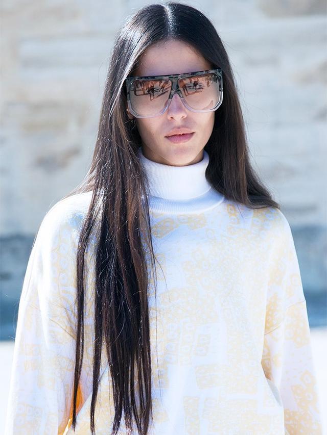 Gilda Ambrosio at Paris Fashion WeekS/S 16. On Ambrosio: Loewe Filipa Sunglasses(£295).