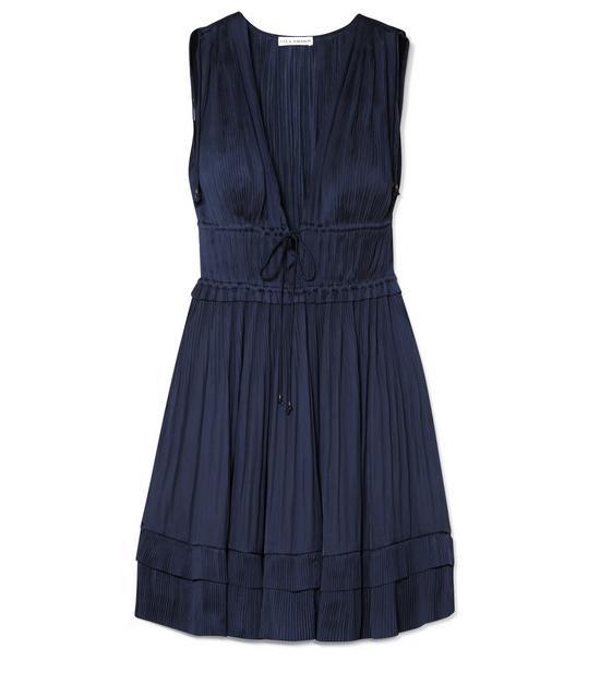 Giselle Plissé-satin Mini Dress