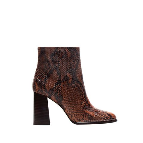 Snake-Print Ankle Boots
