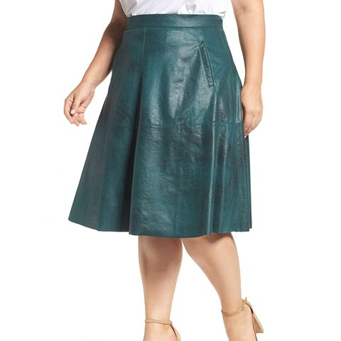 Stretch Faux Leather A-Line Skirt