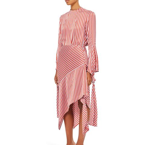 Stripe Knot Midi Skirt