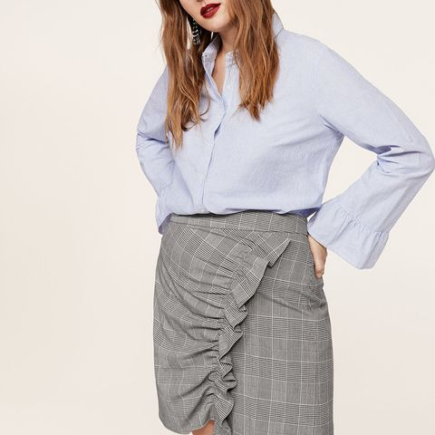 Ruffled Checked Skirt