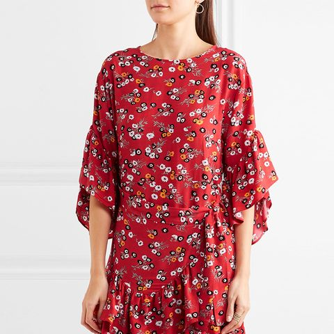 Ruffled Floral-Print Crepe Mini Dress