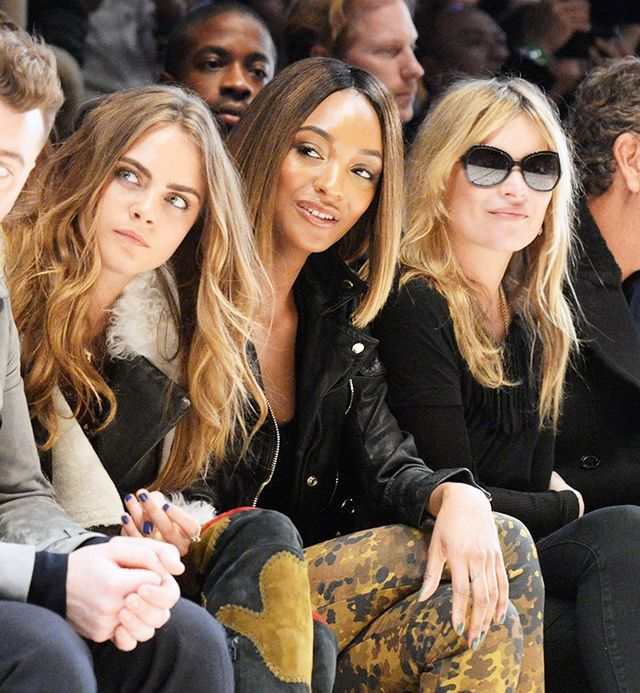 Cara Delevingne, Jordan Dunn and Kate Moss at Burberry A/W 15 show.
