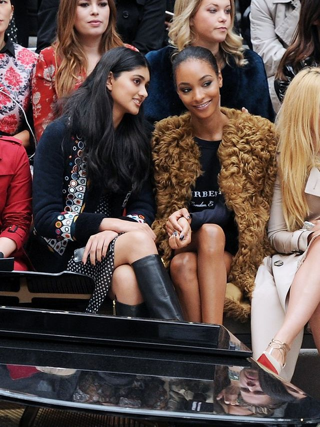 Neelam Gill and Jordan Dunn at Burberry S/S 16 show.