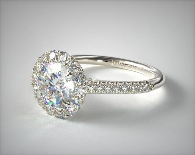 James Allen 14K White Gold Pave Accented Diamond Engagement Ring