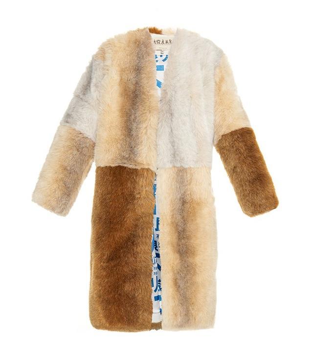 A.W.A.K.E. Faux Fur Patchwork Coat