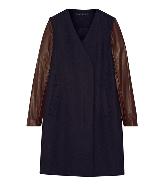 Theory Quennel Leather-Sleeved Coat