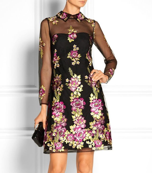 Notte by Marchesa Embroidered Floral Dress