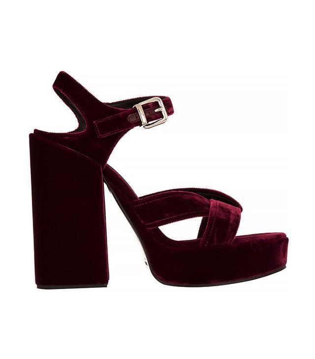 Jil Sander Velvet Platform Sandals
