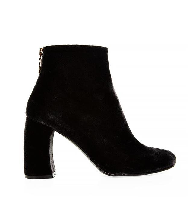 Stella McCartney Curved Block-Heel Velvet Ankle Boots