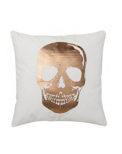 Ultima Logan and Mason Skull Gold Square Filled Cushion