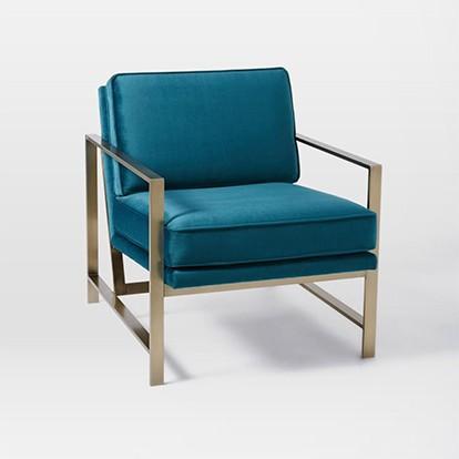 West Elm Metal Frame Upholstered Chair