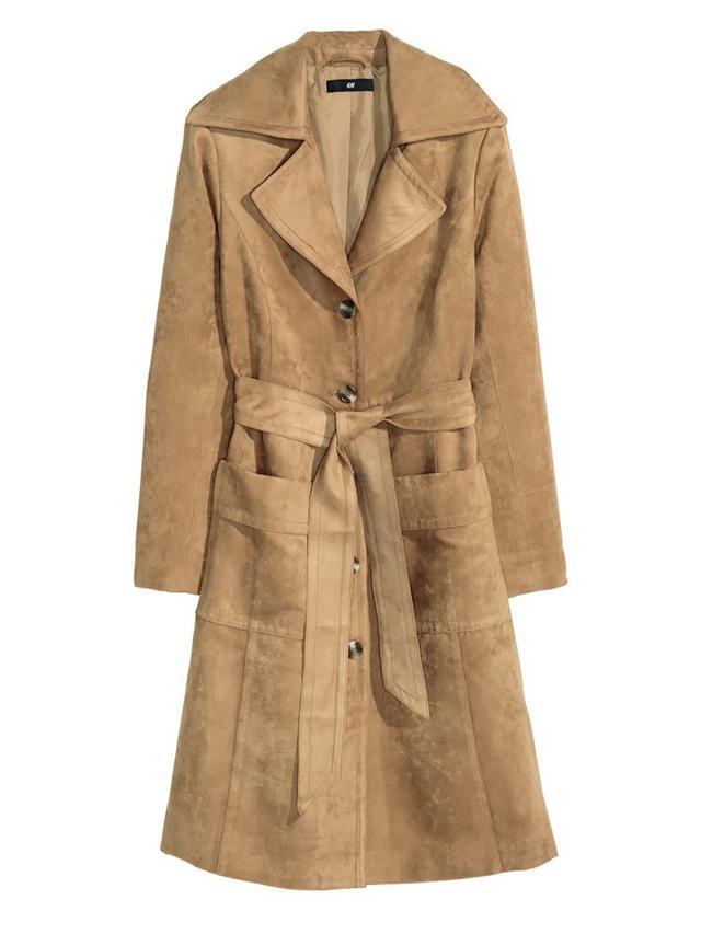 H&M Coat in Imitation Suede