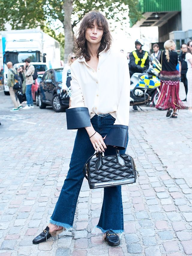 Irina Lakicevic at LFW S/S 16. On Lakicevic: J.W. Anderson Leather Cuff Shirt(£442); Gucci Fur-Lined Slippers(£650).
