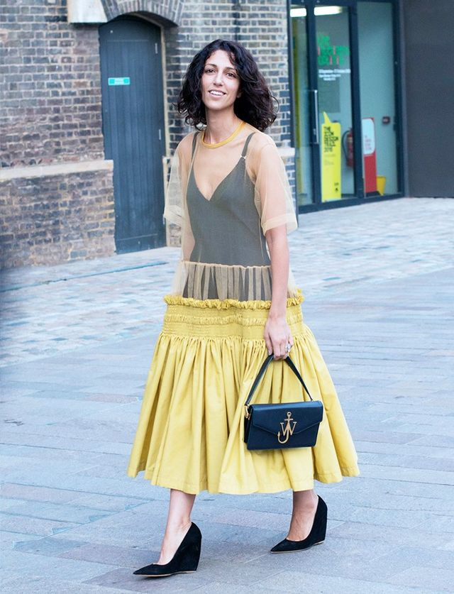 Yasmin Sewell at LFW S/S 16. On Sewell: J.W. Anderson Logo Plaque Shoulder Bag(£763).